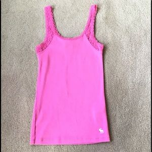 Abercrombie Kids Pink  Lace stretch Tank Top -  M